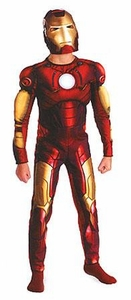 Disguise Iron Man Movie Costume #7138 Iron Man Deluxe Light Up Muscle Costume [Child Size Small (4-6)]