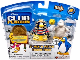 Disney Club Penguin Series 2 Mix 'N Match Mini Figure Pack Pharaoh & Mummy with Golden Puffle [Includes Coin with Code!]