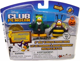 Disney Club Penguin Series 4 Mix 'N Match Mini Figure Pack Bumble Bee & Frankenpenguin [Includes Coin with Code!]