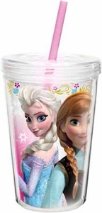 Disney Frozen 13 Oz Anna & Elsa Double-Wall Tumbler with Straw