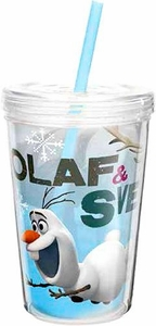 Disney Frozen 13 Oz Olaf & Sven Double-Wall Tumbler with Straw New!