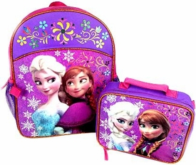 Disney Frozen Anna & Elsa Flowers & Snowflakes Backpack & Lunch Kit Combo