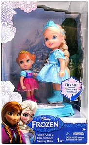 Disney Frozen Figure Set Young Anna & Elsa with Ice Skating Ring