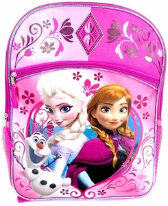 Disney Frozen Pink Anna, Elsa & Olaf Flowers Backpack