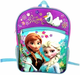 Disney Frozen Pink, Purple & Blue Anna & Elsa Flowers Backpack