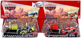 Disney / Pixar CARS Movie 1:55 Die Cast Car 2-Pack with Launcher Pit Row Race-Off Trunk Fresh #34 & No Stall #123