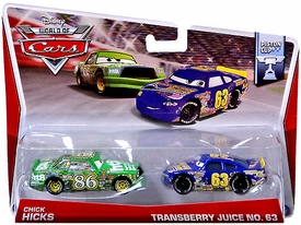 Disney / Pixar CARS Movie 1:55 Die Cast Car MAINLINE World of Cars 2-Pack Chick Hicks & Transberry Juice No. 63 [Piston Cup 5/16 & 6/16]