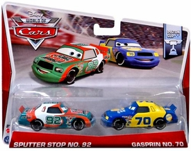 Disney / Pixar CARS Movie 1:55 Die Cast Car MAINLINE World of Cars 2-Pack Sputter Stop No. 92 & Gasprin No. 70 [Piston Cup 8/16]