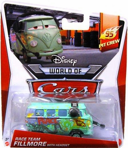 Disney / Pixar CARS Movie 1:55 Die Cast Car Mainline World of Cars Race Team Fillmore with Headset [95 Pit Crew 1/5]