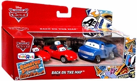 Disney / Pixar CARS Movie Exclusive Radiator Springs 1:55 Die Cast Cars 3-Car World of Cars Gift Pack Back on the Map [Waitress Mia, Waitress Tia & Hank Hallsum]