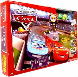 Disney / Pixar CARS Movie Toy Exclusive Track Playset Piston Cup 500 [Lightning McQueen, Chick, King & Leakless]