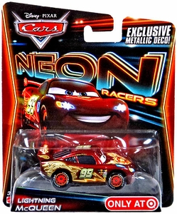 Disney / Pixar CARS Neon Racers Exclusive 1:55 Die Cast Car Lightning McQueen [Metallic Deco!]