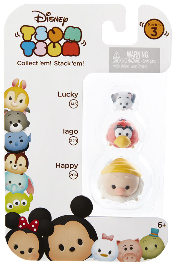 Disney Tsum Tsum Series 3 Lucky, Iago amp; Happy Minifigure 3Pack 143