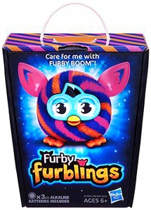 Furby Furblings Figure Orange & Blue Diagonal Stripes New!
