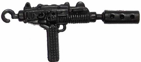 Generic 3 3/4 Inch LOOSE Action Figure Accessory Black Uzi SMG with Silencer & Hook