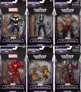Guardians of the Galaxy Marvel Legends Set of 6 Action Figures [Build Groot Figure!]