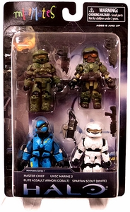 Halo 3 Exclusive Minimates Series 1 Mini Figure 4-Pack [Master Chief, UNSC Marine, White Spartan In Scout Armor & Elite In Cobalt Assault Armor]