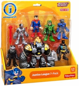 Imaginext DC Justice League Exclusive Mini Figure 7-Pack Black Manta, Cyborg, Superman, Green Arrow, Darkseid, Batman & Gorilla Grodd