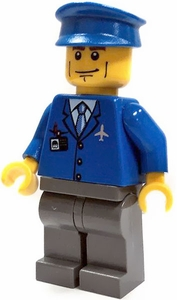 LEGO City LOOSE Mini Figure Airport Personnel with Blue Three Button Jacket & Hat