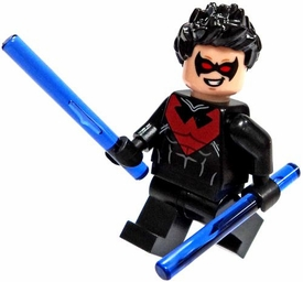 LEGO DC Comics Super Heroes LOOSE Minifigure Nightwing with Purple Eskrima Sticks