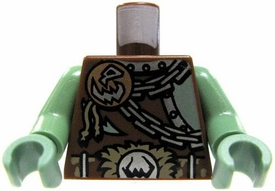 LEGO LOOSE Brown Torso Bronze Disc with Skull Motif, Silver Chains Fur-Lined Buckle