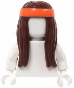 LEGO LOOSE Hair Long Brown Hair with Orange Headband