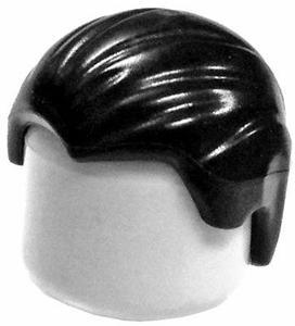 LEGO LOOSE Hair Short Black Combed Front To Back