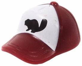 LEGO LOOSE Headgear Deep Red Baseball Cap with Squirrel on White Field