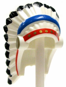 LEGO LOOSE Helmet Feathered Indian Headdress with Red & Blue Trim & Black Hair