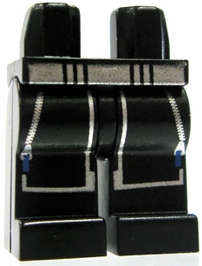 LEGO LOOSE Legs Black Legs with Silver Waits, Zippers & Blue Pulls