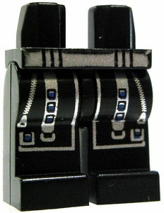 LEGO LOOSE Legs Black Legs with Silver Zippers & Straps with Blue Buttons