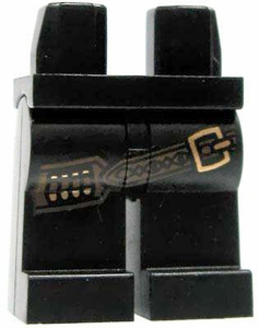 LEGO LOOSE Legs Black with Brown Ammo Belt & Brass Buckle