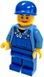 Lego LOOSE Minifigure Mechanic with Blue Overalls, Blue Hat and Tools in Front Pocket