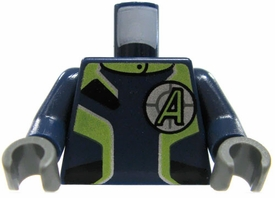 LEGO LOOSE Torso Blue Body Suit with Green & Silver Trim with Green A in Cross-Hairs