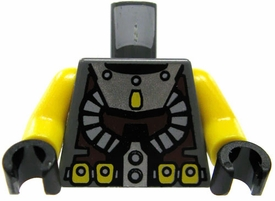 LEGO LOOSE TORSO Bluish Gray Torso with Silver Collar and Twin Hoses Details