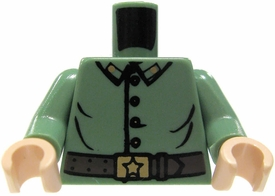 LEGO LOOSE Torso Sand Green Uniform with Buttons & Belt