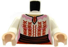 LEGO LOOSE Torso White Blouse with Red Embroidery