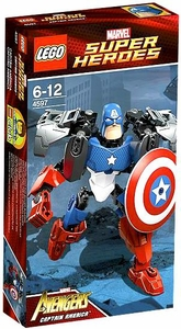 LEGO Marvel Super Heroes Ultrabuild Figure Set #4597 Captain America Damaged Package, Mint Contents!