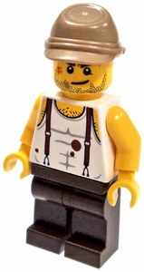 LEGO Pharaoh's Quest LOOSE Mini Figure Mac McCloud with Red Suspenders and Blood Stains