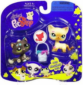 Littlest Pet Shop 2009 Assortment 'A' Series 2 Collectible Figure Black & Tan Cats with Paint Bucket