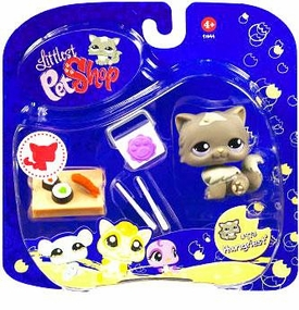 Littlest Pet Shop 2009 Assortment 'A' Series 3 Collectible Figure Cat with Sushi Damaged Package, Mint Contents!