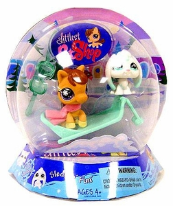 Littlest Pet Shop Chilliest Pet Pair Sleddin' Fun [Brown Pony & White Bunny]