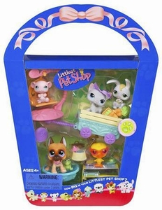 Littlest Pet Shop Figures Playset 2007 Spring Basket with Exclusive Pink Mouse & Great Dane
