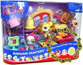 Littlest Pet Shop Figures Playset Bargain Hunters [Grey Cat, Dog & Pink Hummingbird]