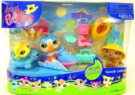 Littlest Pet Shop Figures Themed Playset Seaside Celebration [Yellow Fish, Pelican & Dog]