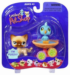 Littlest Pet Shop Pet Pairs Figures Blue Bird in Birdbath & Cat