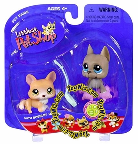 Littlest Pet Shop Pet Pairs Figures Corgi & Great Dane