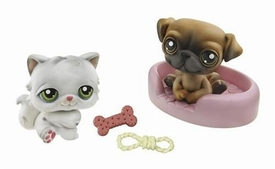 Littlest Pet Shop Pet Pairs Figures Persian Cat & Pug Dog with Bone