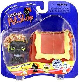 Littlest Pet Shop Pets On The Go Figure Black Scottie Scottish Terrier with Hat & Carry Case