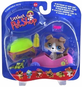 Littlest Pet Shop Pets On The Go Figure Collie with Speedy Boxcar